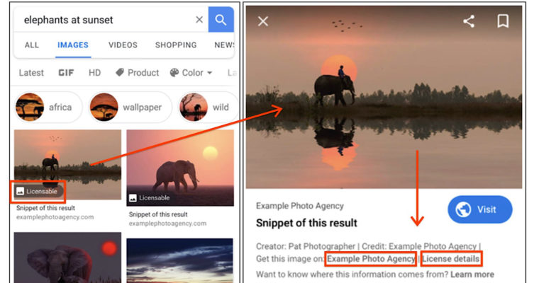 Google to Highlight Image Licensing Information in Image Search Results