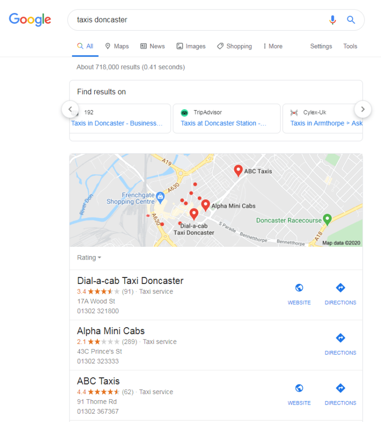 Google Displays Prominent Links to Third Party Services in Local SERPs