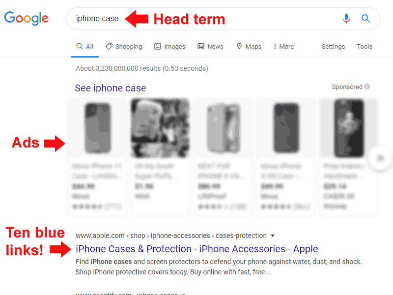 Screenshot of a Google search result for the keyword phrase iphone case