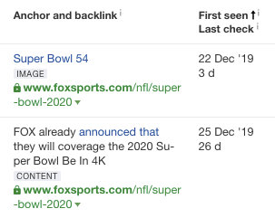 initial backlinks pointing to fox sports mlp page