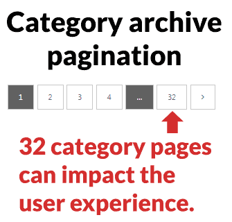 screenshot of an example of category archive pagination