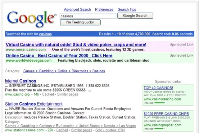 google-search-result-page-2001
