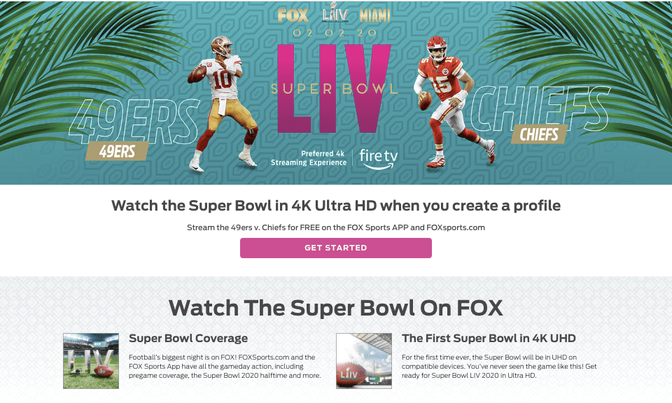 Above-the-fold content on FOX Sports' Super Bowl MLP.