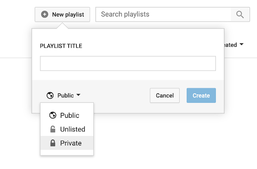 creating a private playlist