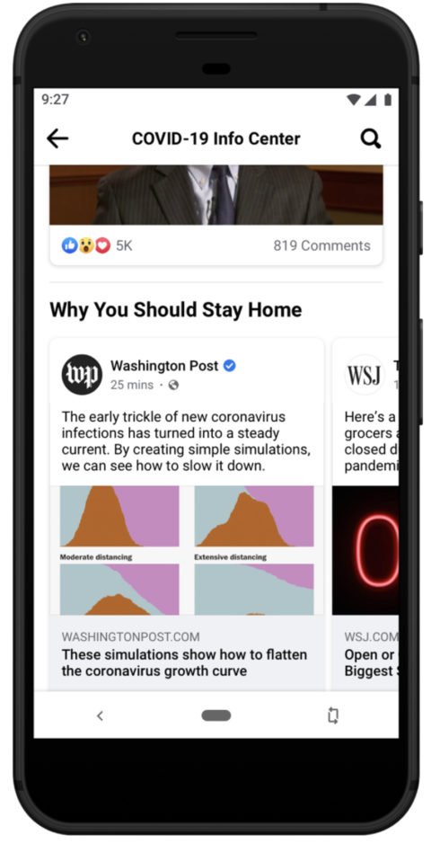 Facebook Puts COVID-19 Information on Top of Users' News Feeds