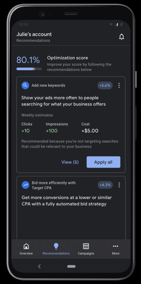 Google Ads Mobile App Updated With New Features and Dark Mode