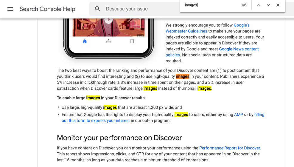 Google Discover Images Guidelines Optimise For