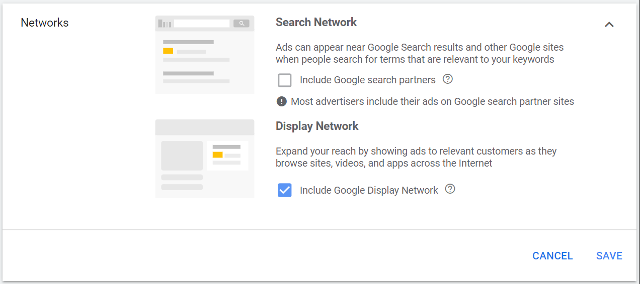 Google Search Targeting including Search and Display options