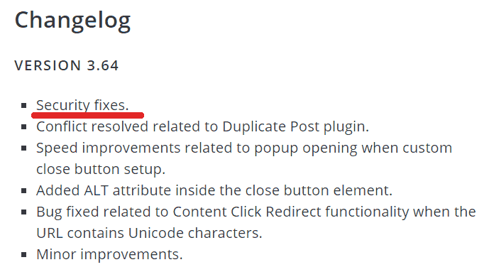 screenshot of the popup builder wordpress plugin changelog
