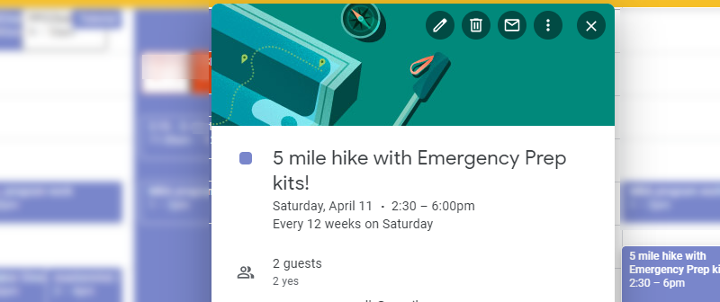 calendar event to plan practice run with emergency kits