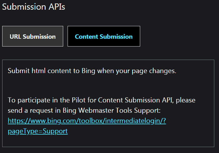 Screenshot of announcement of pilot program to sign up for direct content submission to Bing