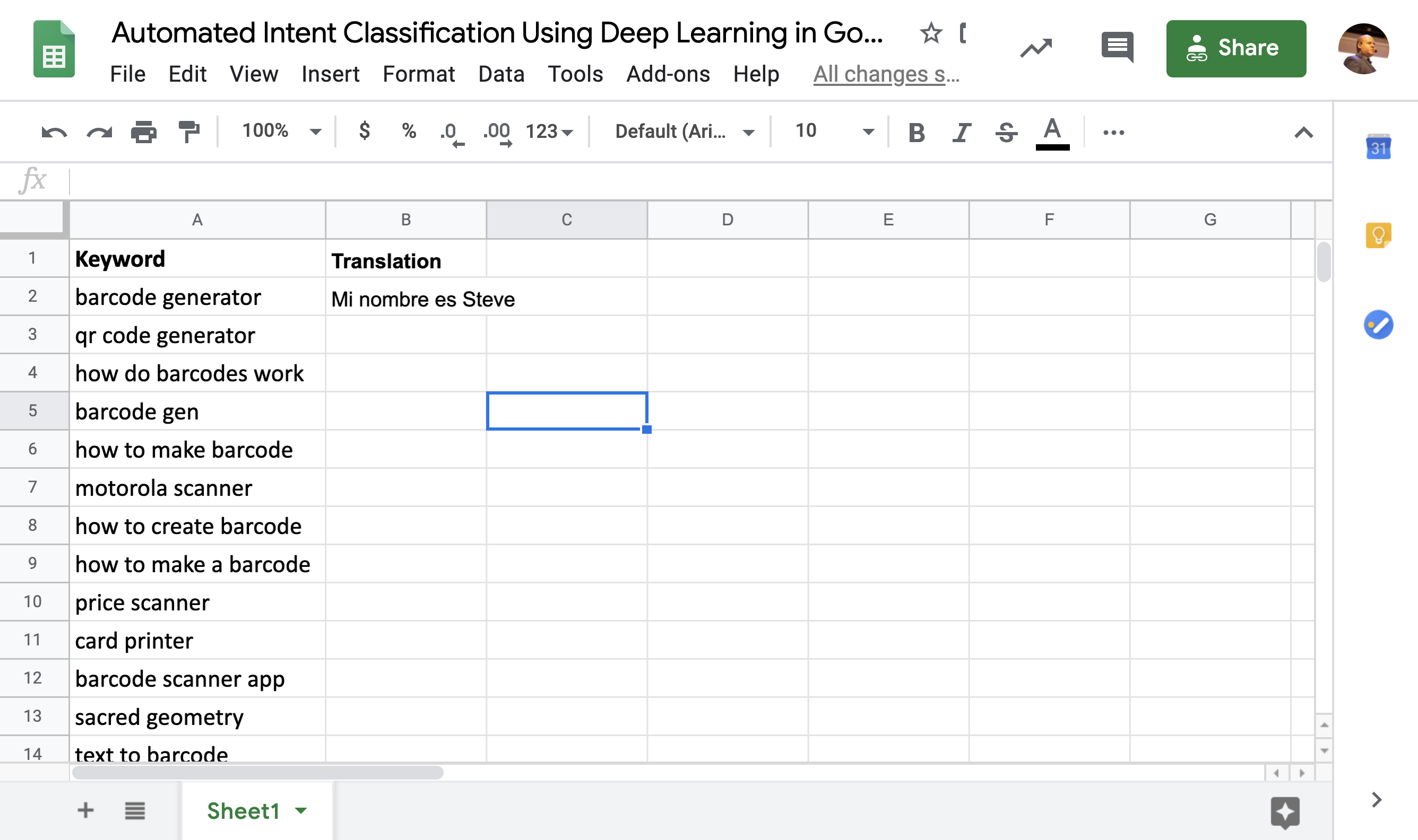 Automated Intent Classification Using Deep Learning in Google Sheets