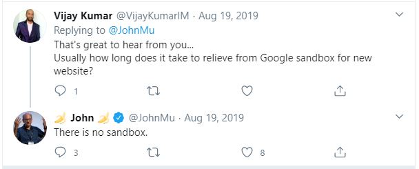 Tweet about Google sandbox