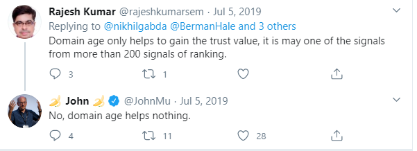 Tweet about domain age as a ranking factor