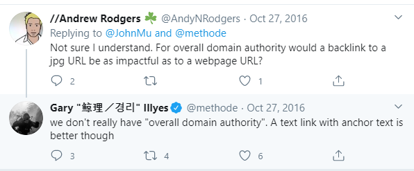 Tweet about Google having an overall domain authority metric
