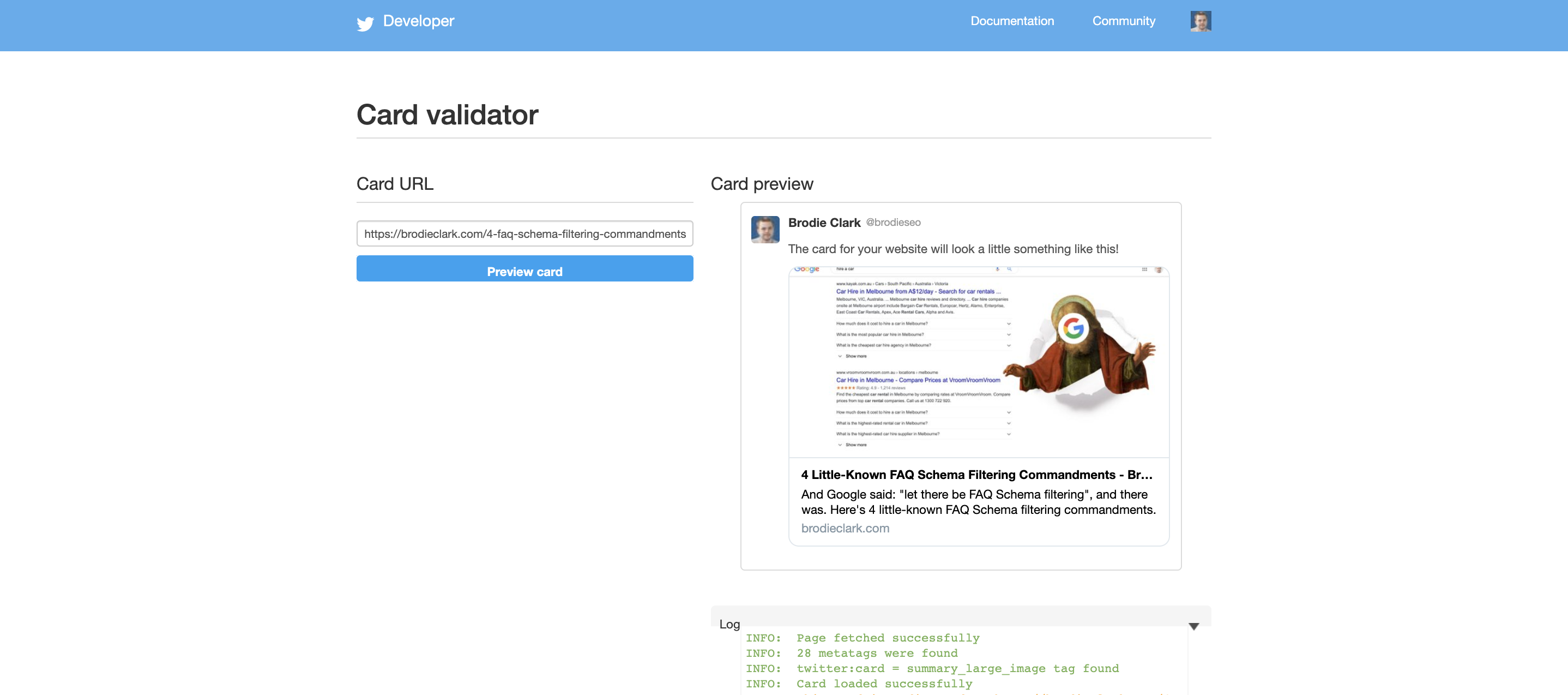 twitter card validator brodie clark consulting