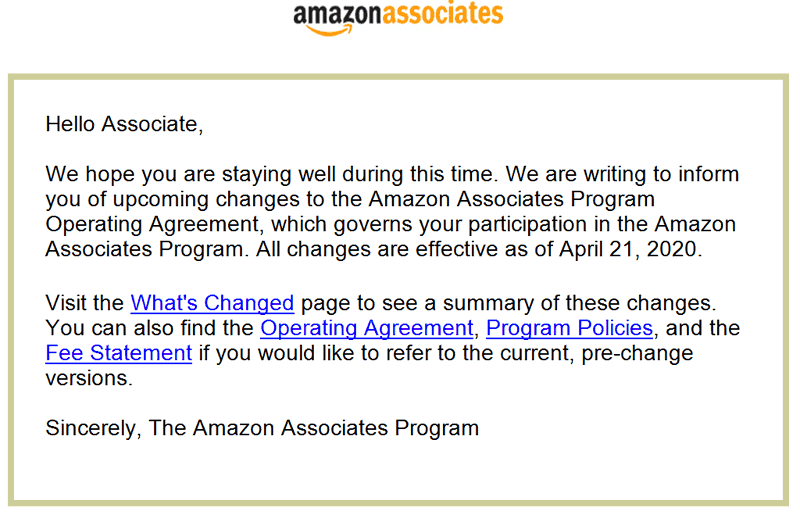 Screenshot of Amazon Associates Email