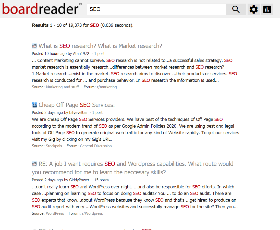 BoardReader search engine