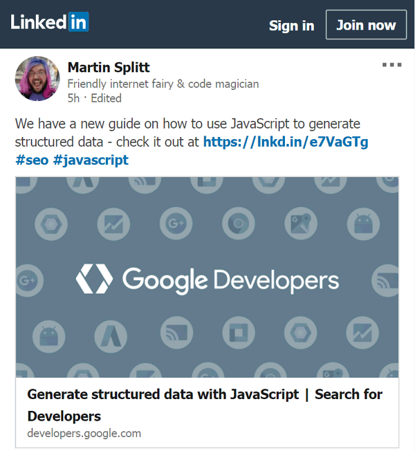 martin splitt linkedin structured data with javascript announcement