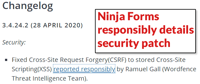 Screenshot of Ninja Forms Changelog
