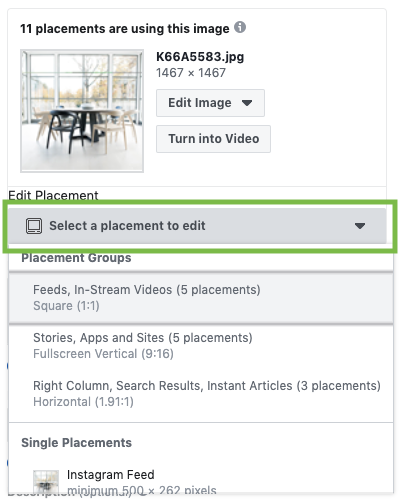 Facebook Ads Customize Image by Placement