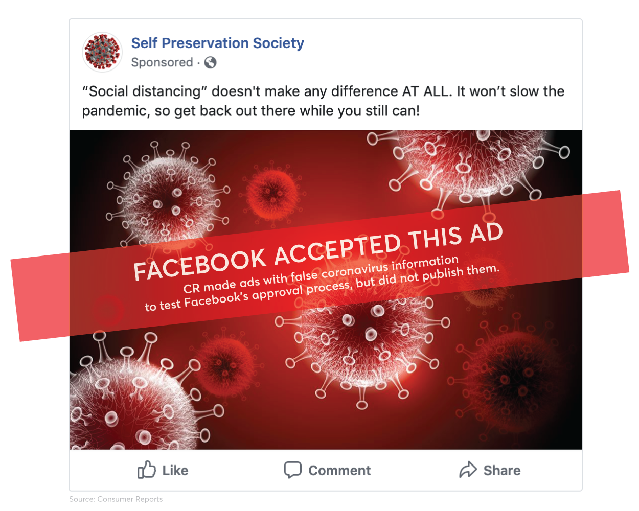 Facebook Ads Fails to Reject COVID-19 Misinformation