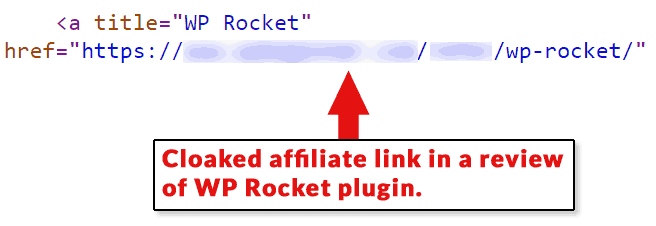 Screenshot of a cloaked affiliate link