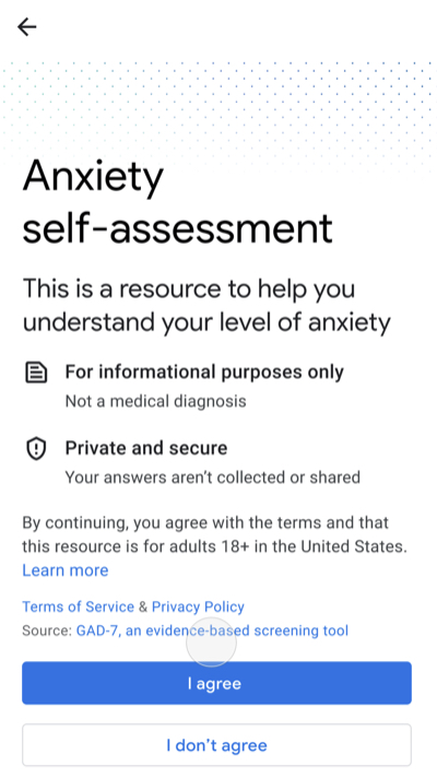 Google Adds An Anxiety Disorder Self-Assessment to Search Results
