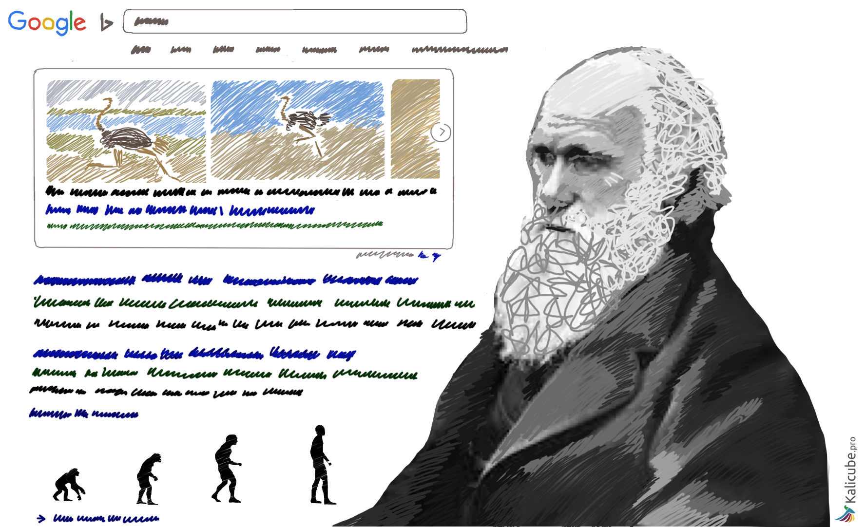Illustration of Darwin and a Search Engine Results Page