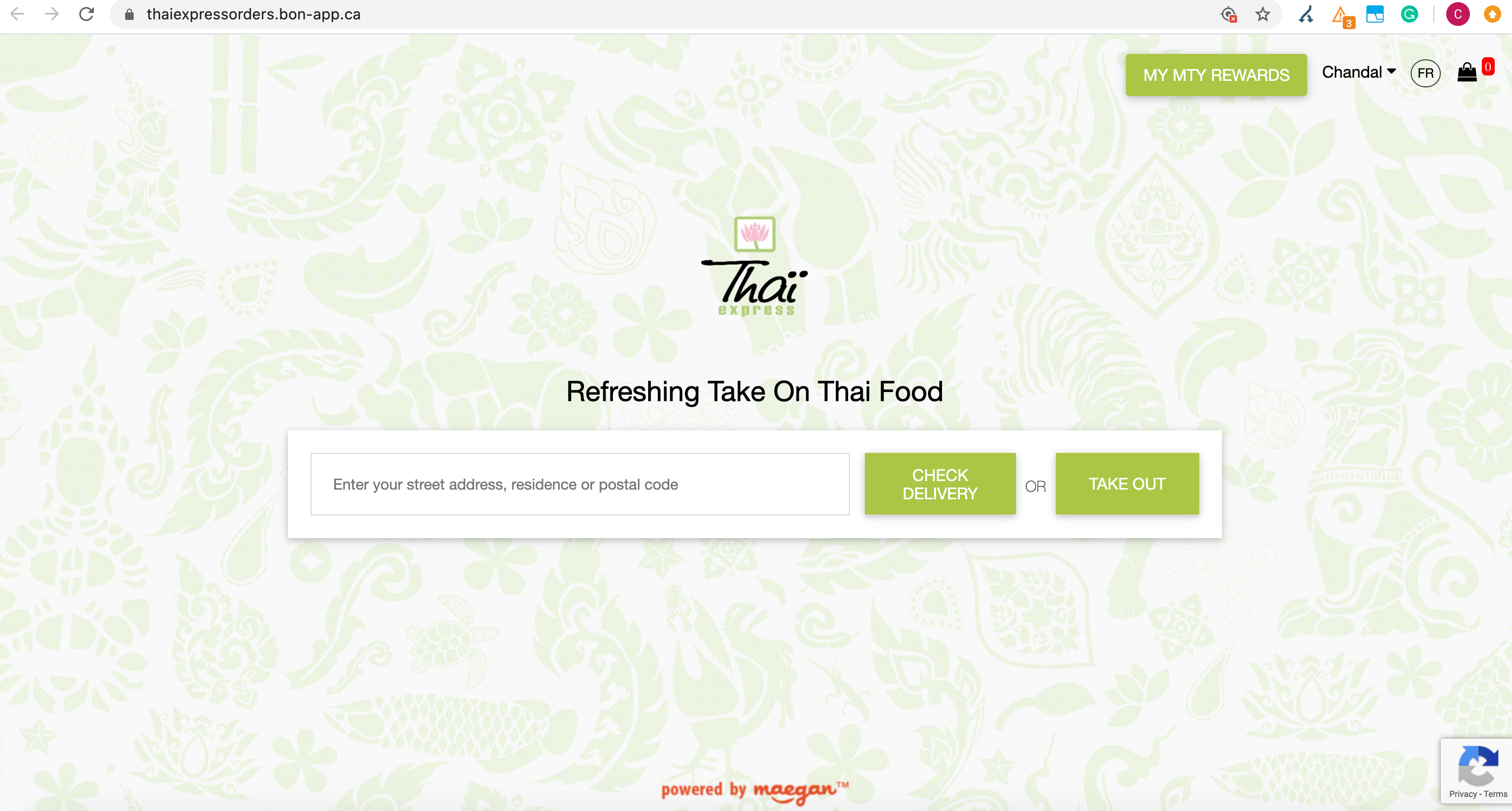 Thai Express ordering platform on third party subdomain