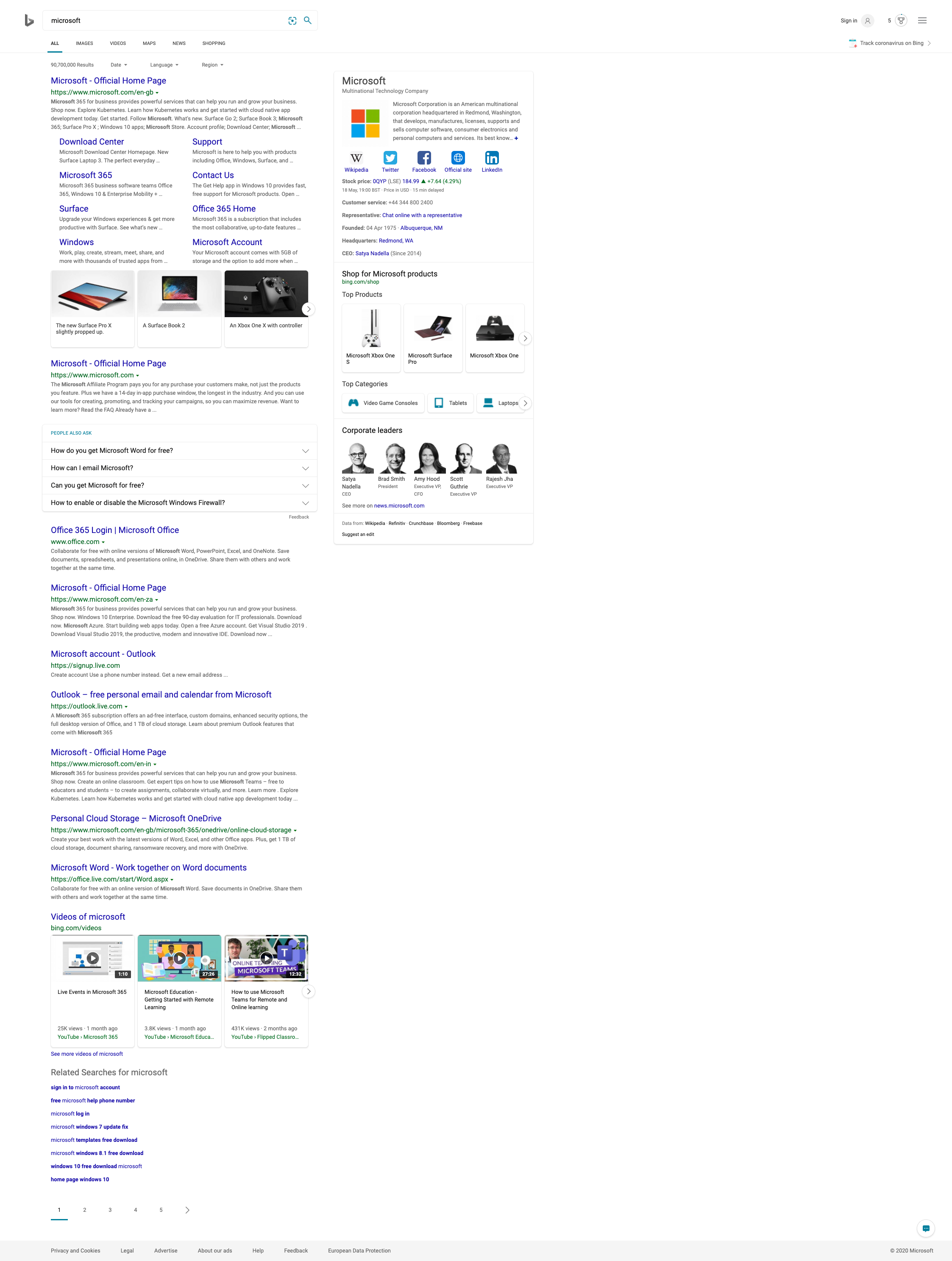 Bing SERP for a search on the word on Microsoft