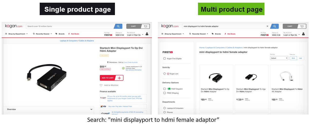 single vs multi product page