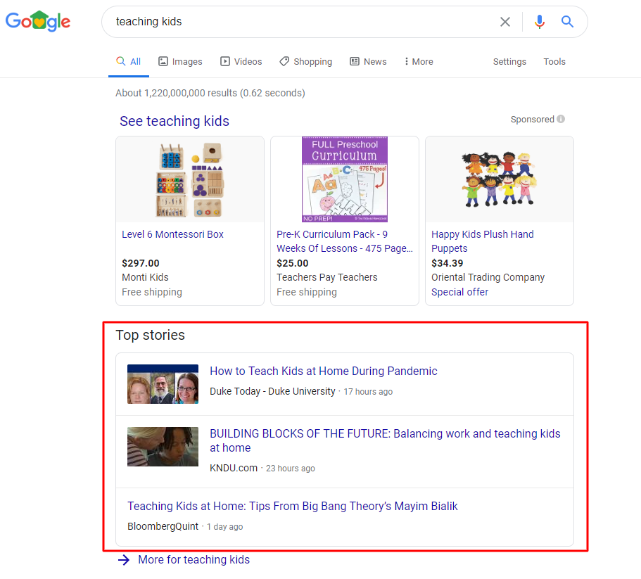 Teaching Kids Google SERP