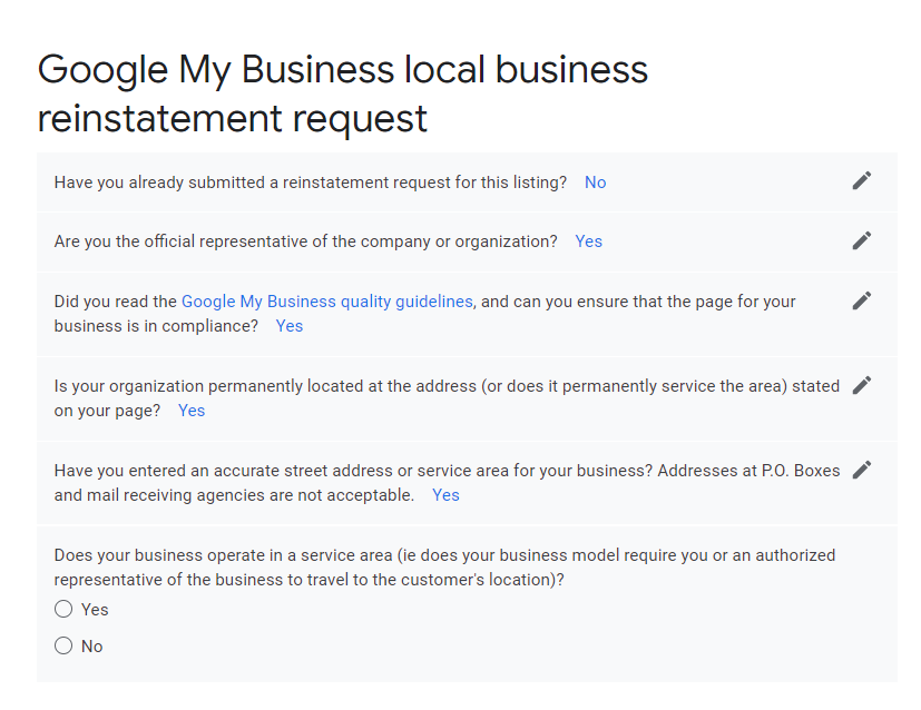Google My Business reinstatement form