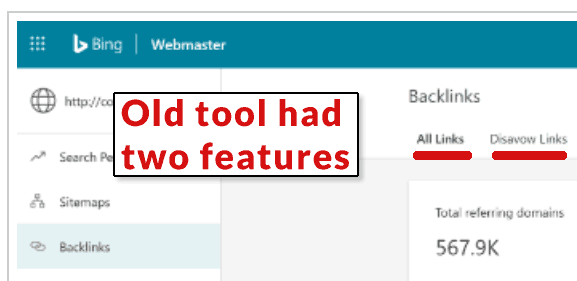 Screenshot of previous old Bing backlink tool