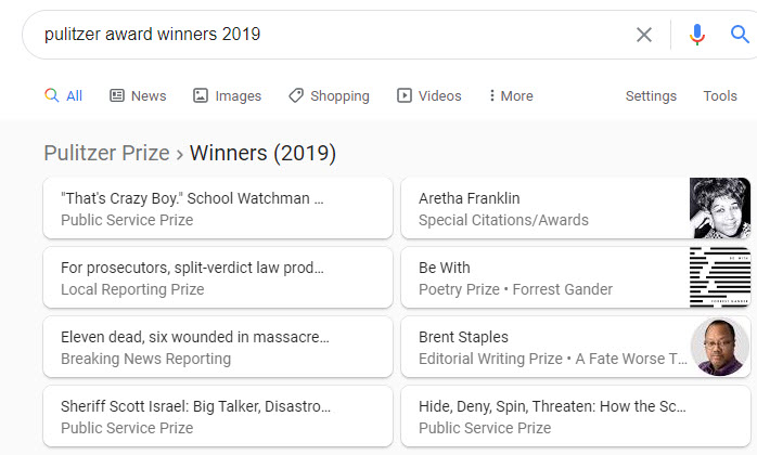 Pulitzer Award Winners 2019
