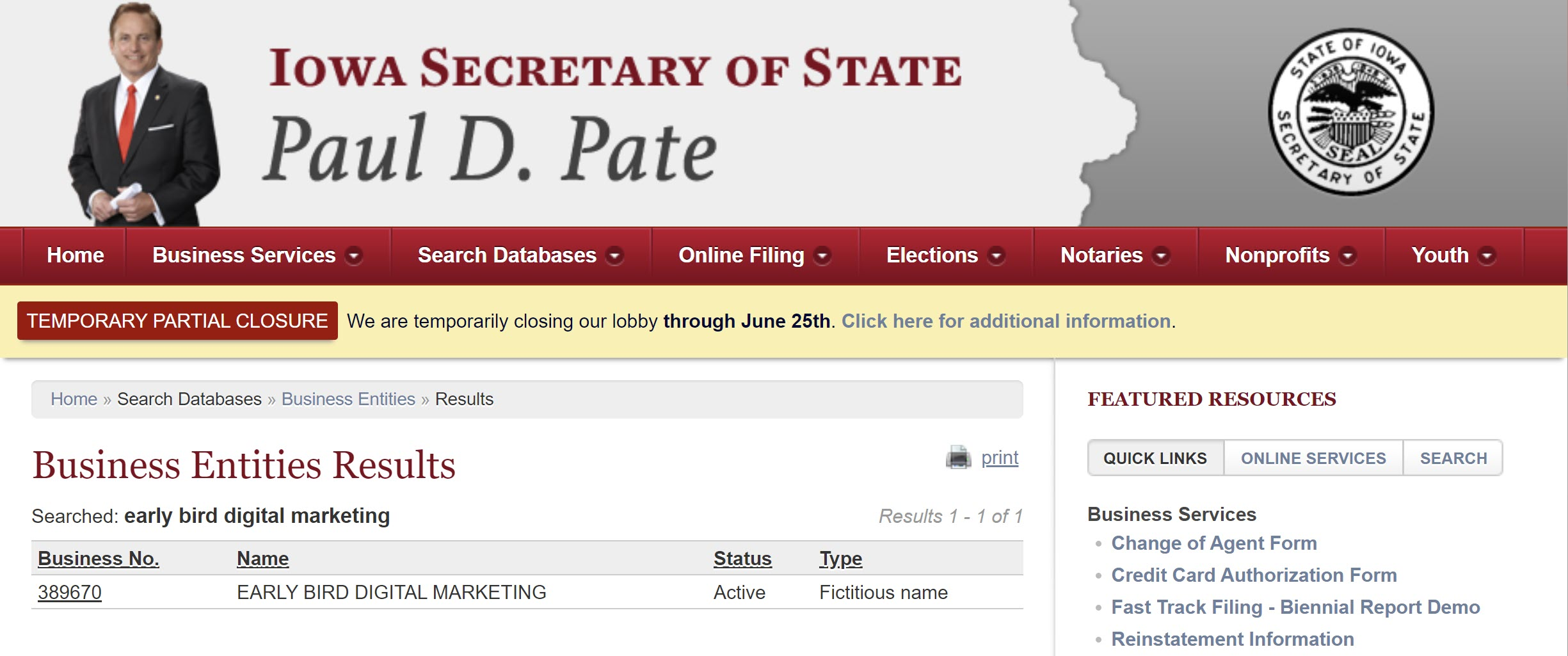 Business name search on Secretary of State