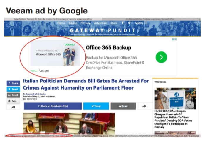 Ads Appearing on Google's Network Alongside COVID-19 Misinformation