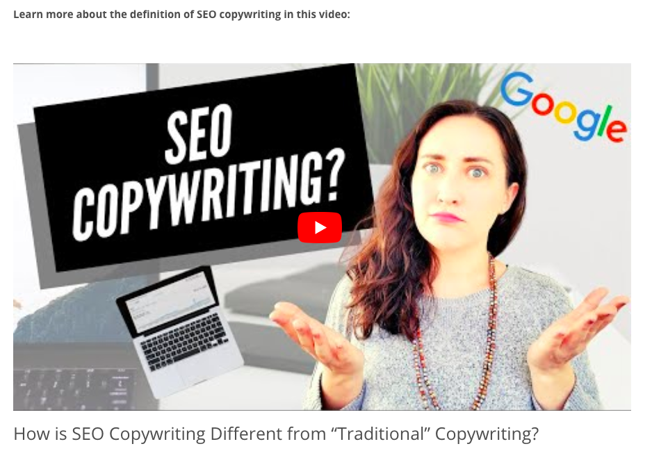 """What is SEO Copywriting"" video"
