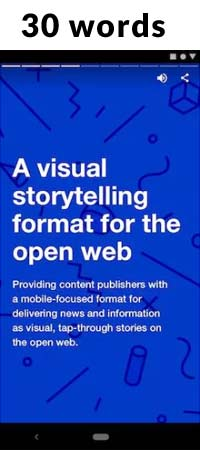 Screenshot of a web story page with only 30 words of content