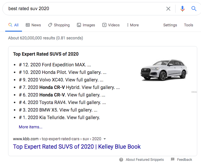 Best Rated SUV 2020 Google featured snippet