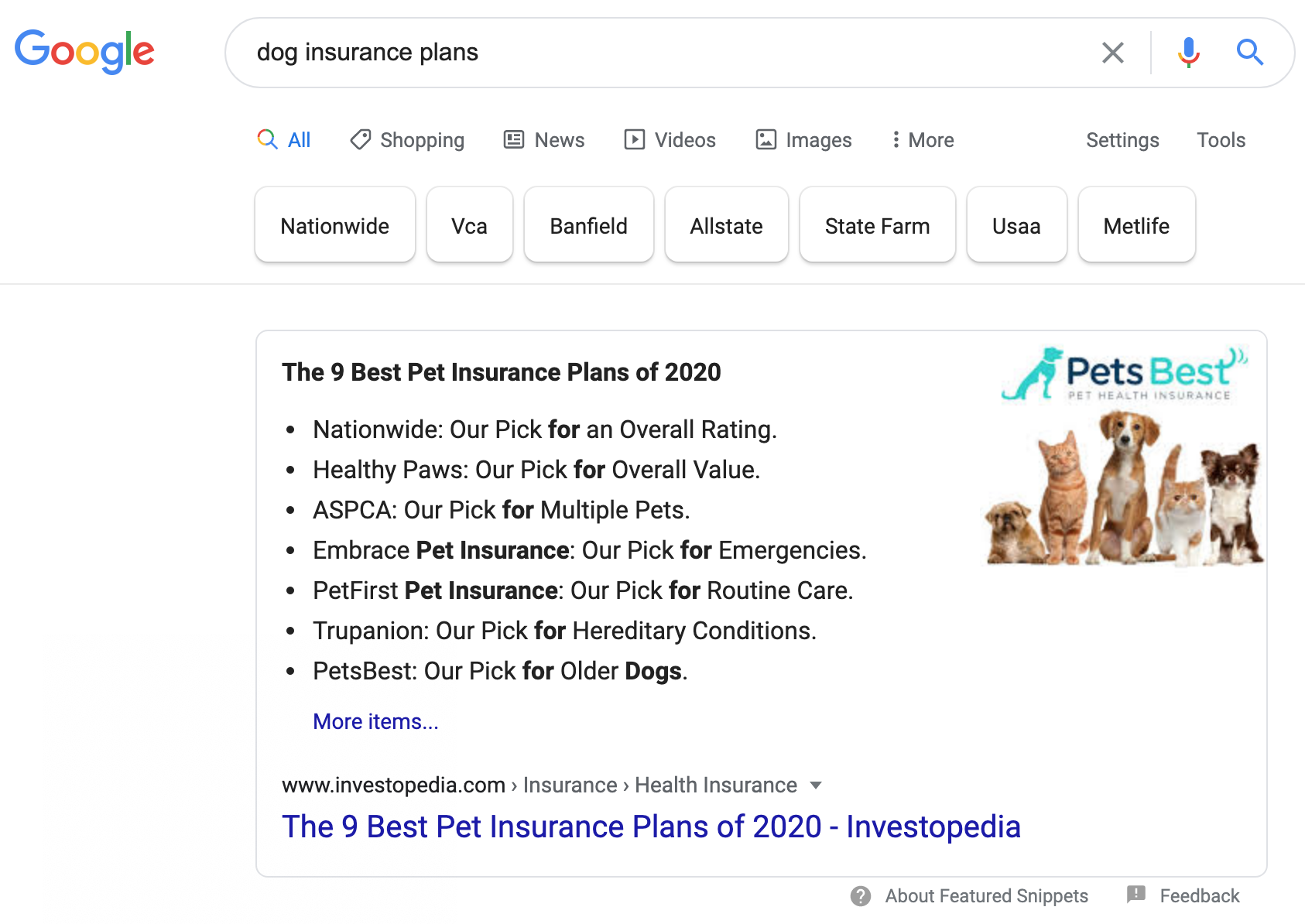 carousel featured snippet