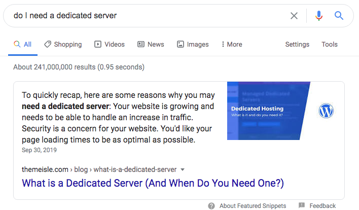Do I need a dedicated server featured snippet