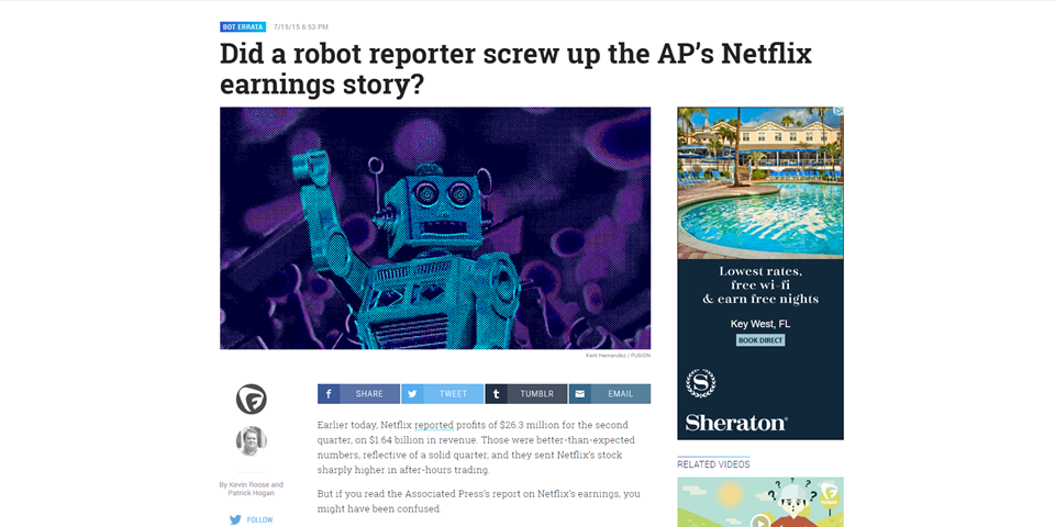 Did a robot reporter screw up AP's Netflix earnings story