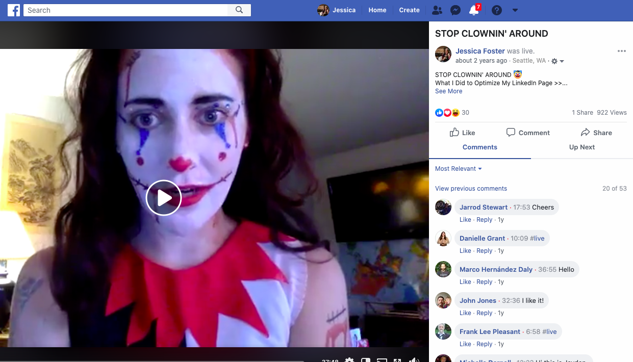 Jessica Foster clown Facebook Live
