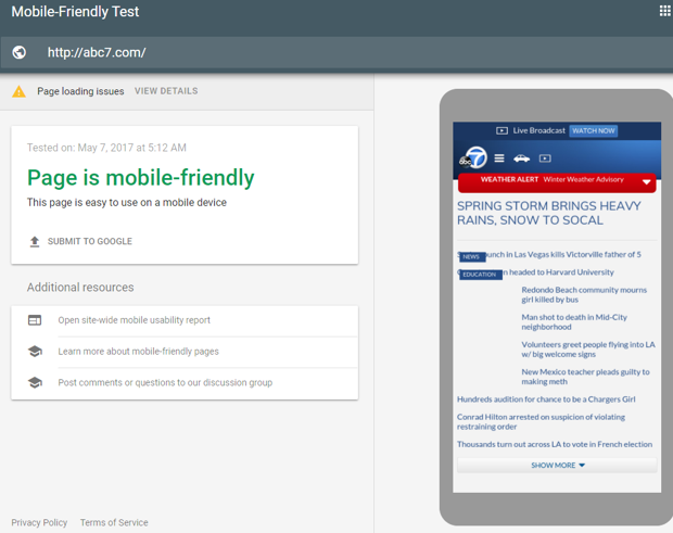 Google's Mobile-Friendly Testing tool