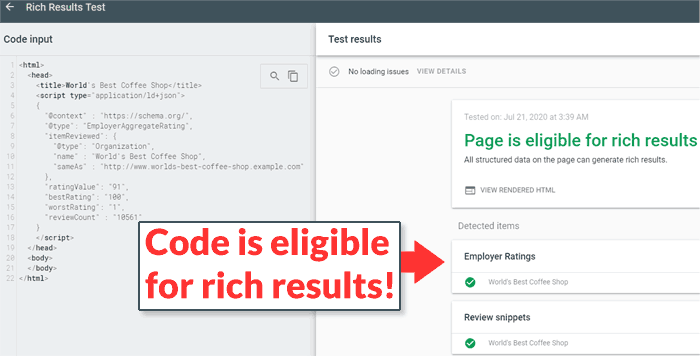 Screenshot shows that new reviewCount structured data qualifies for rich results