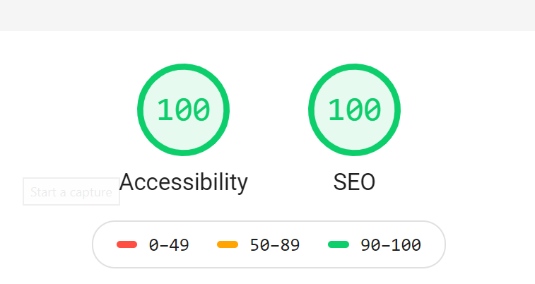 Example of Lighthouse Scores for Accessibility and SEO