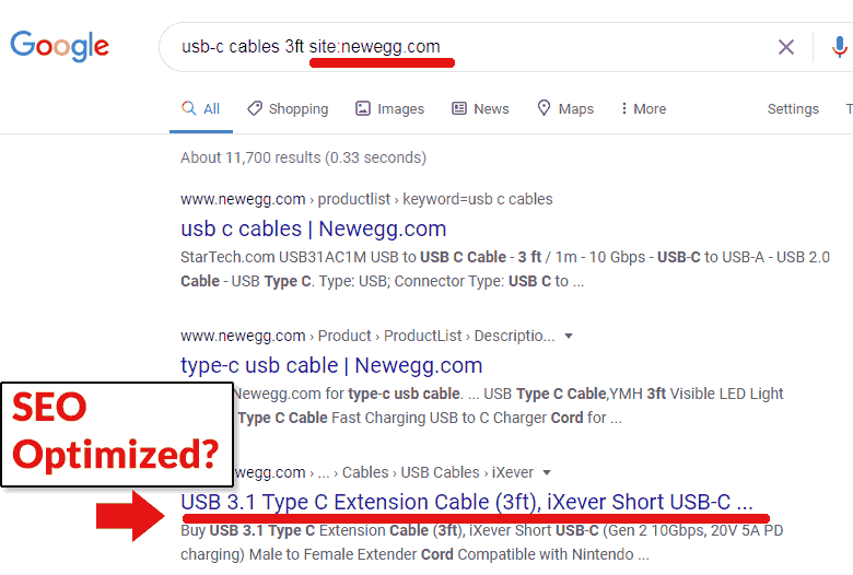 Screenshot of site search of NewEgg.com