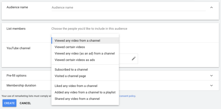 Google Ads YouTube Remarketing Audiences
